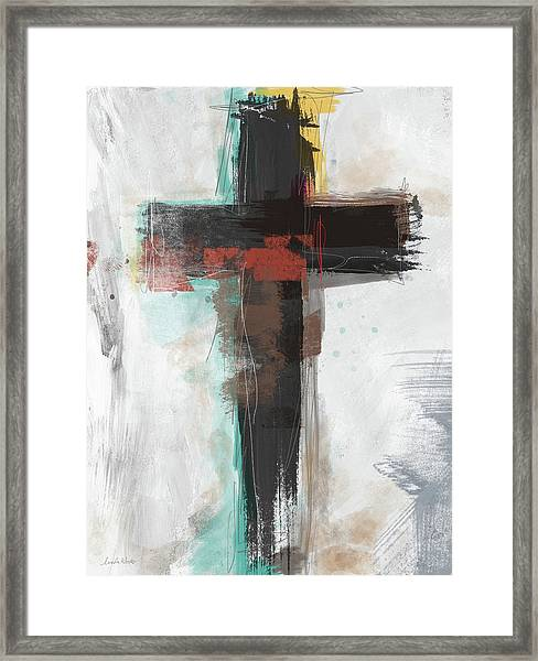 Contemporary Cross 1- Art By Linda Woods Framed Print