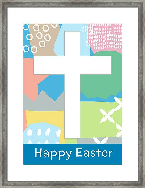 Contemporary Easter Cross- Art By Linda Woods Framed Print