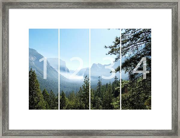 Controlled Burn Of Yosemite Panoramic Map Framed Print
