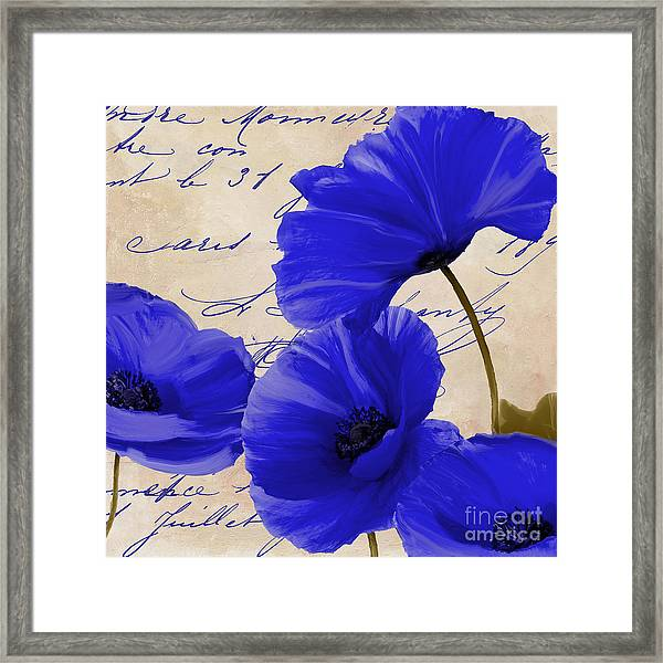 Coquelicots Bleue Framed Print