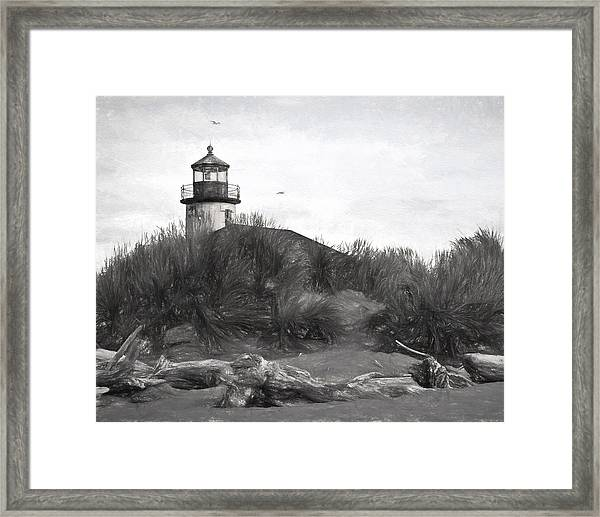 Coquille River Lighthouse Oregon Black And White Giclee Art Print Framed Print