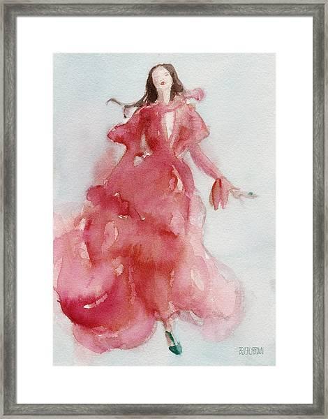 Coral Evening Dress Framed Print