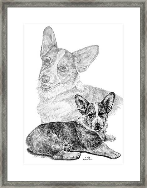 Corgi Dog Art Print Framed Print