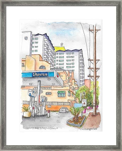 Corner La Cienega Blvd. And Hallway, Chevron Gas Station, West Hollywood, Ca Framed Print