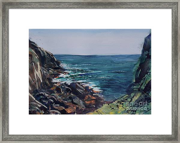 Framed Print featuring the painting Cornish Clffs by Genevieve Brown