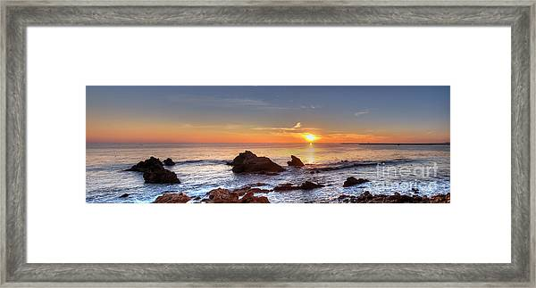 Corona Del Mar Sunset Panorama Framed Print