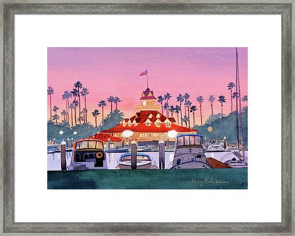 Coronado Boathouse After Sunset Framed Print