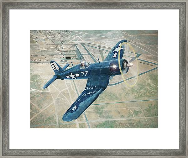 Corsair Over Mojave Framed Print