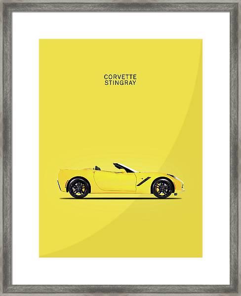 Corvette In Yellow Framed Print