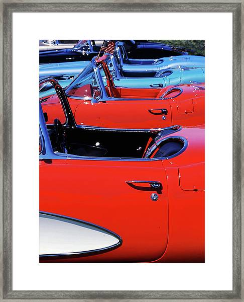 Framed Print featuring the photograph Corvette Row by Samuel M Purvis III
