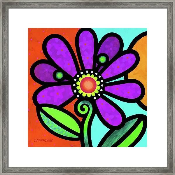 Cosmic Daisy In Purple Framed Print