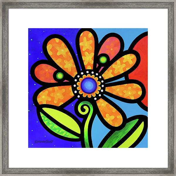 Cosmic Daisy In Yellow Framed Print