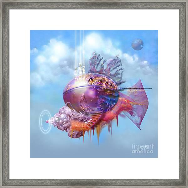 Cosmic Fish Spaceship Framed Print