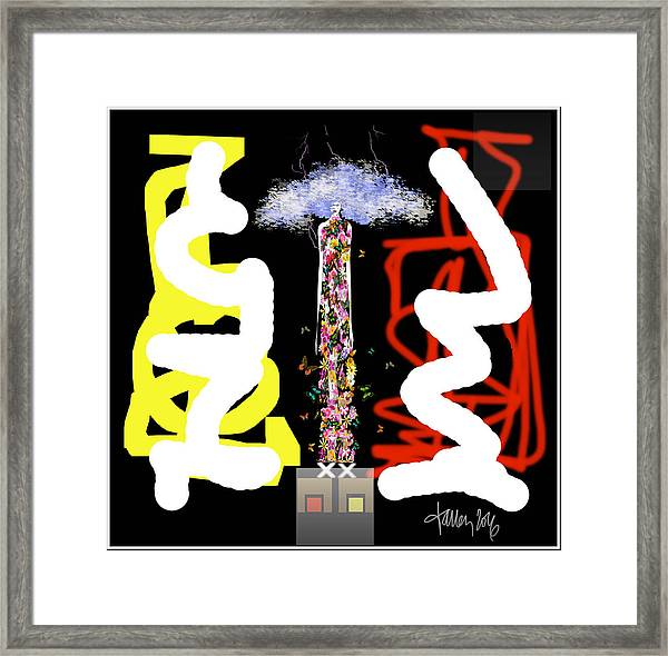 Framed Print featuring the digital art Cosmic Geisha - Angry Mountain Messenger by Larry Talley