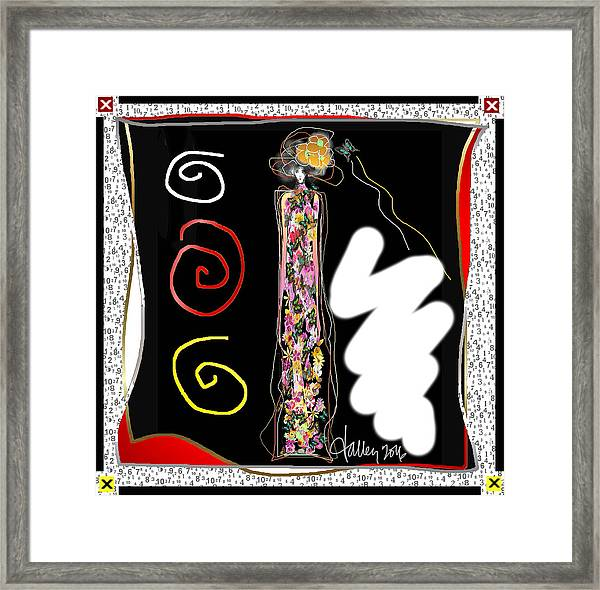 Framed Print featuring the digital art Cosmic Geisha - Trapped In Computational Graffiti  by Larry Talley