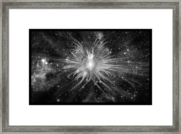 Cosmic Heart Of The Universe Bw Framed Print