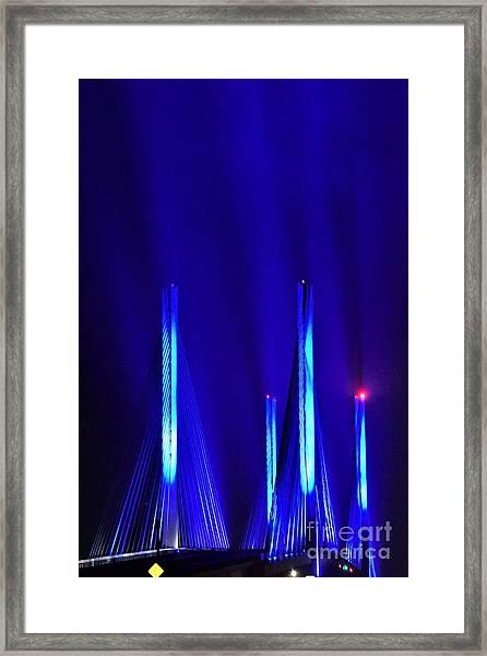 Blue Light Rays - Indian River Inlet Bridge Framed Print
