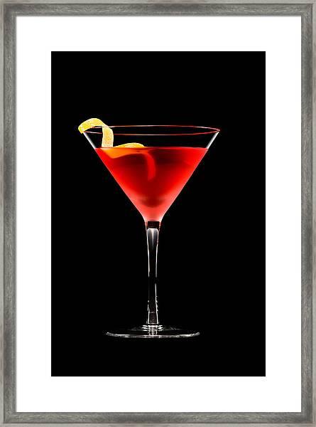 Cosmopolitan Cocktail In Front Of A Black Background  Framed Print