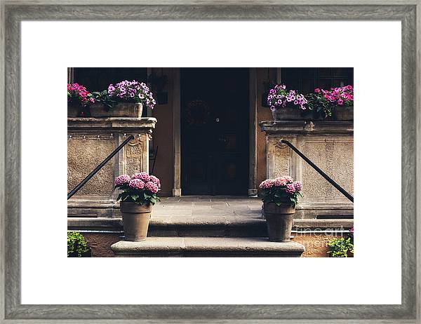 Cosy Entrance To An Old Tenement Building In Gdansk, Poland. Framed Print
