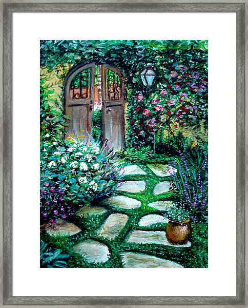 Cottage Gates Framed Print