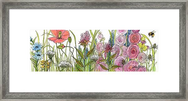 Cottage Hollyhock Garden Framed Print