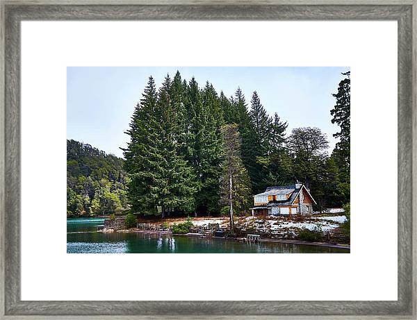 Little Cottage And Pines In The Argentine Patagonia Framed Print