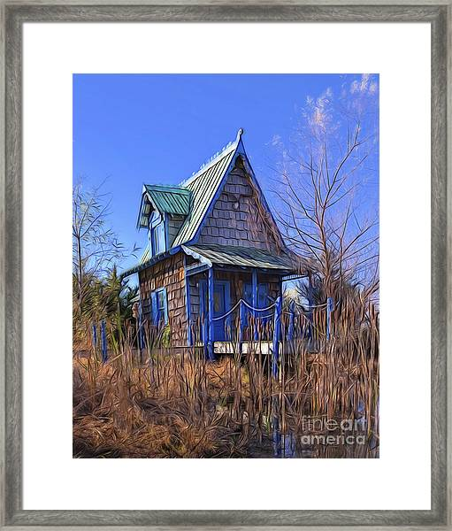Cottage In The Willows Framed Print
