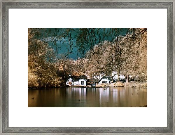 Cottage On The Lake Framed Print