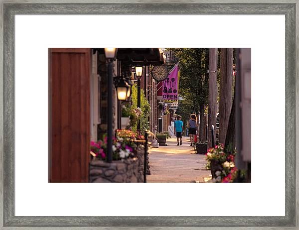 Cottage Street Stroll Framed Print