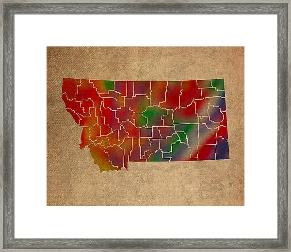 Counties Of Montana Colorful Vibrant Watercolor State Map On Old Canvas Framed Print