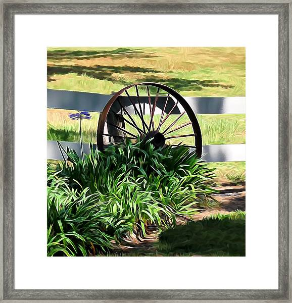Country Wagon Wheel Framed Print