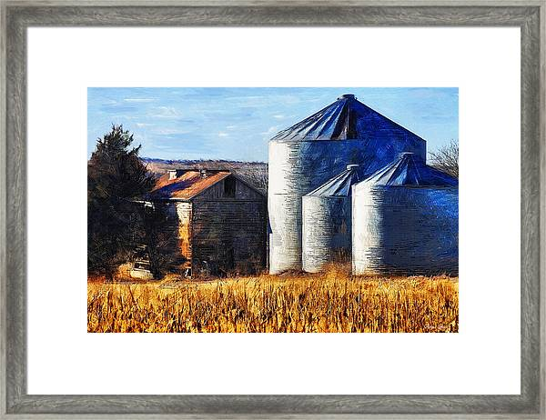 Countryside Old Barn And Silos Framed Print