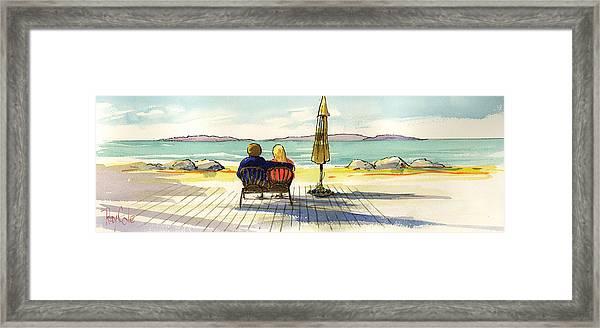 Couple At The Beach Framed Print