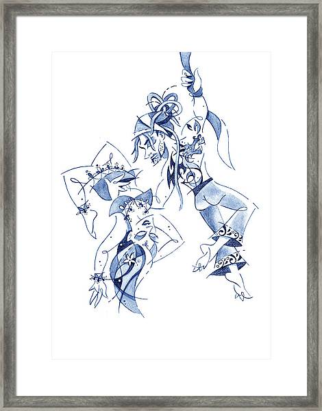 Couple Dancing - Acrobatic Circus Show Framed Print