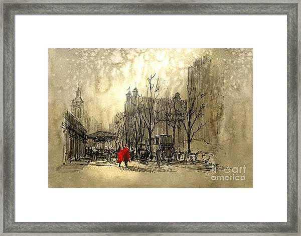 Framed Print featuring the painting Couple In City by Tithi Luadthong