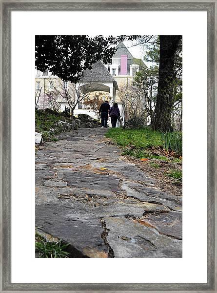 Couple On A Garden Path Framed Print