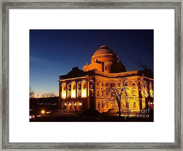 Courthouse At Night Framed Print