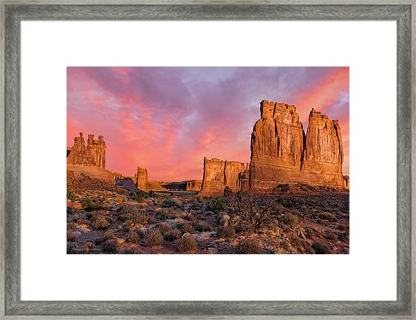 Courthouse Towers And Three Gossips Framed Print by T-S Fine Art Landscape Photography
