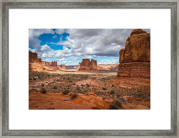 Courthouse Towers At Arches National Park Framed Print
