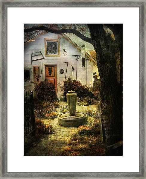 Courtyard And Fountain Framed Print