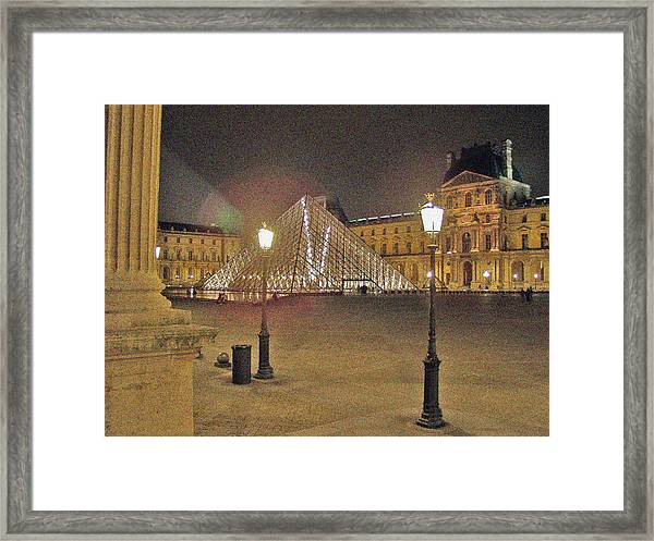 Courtyard At The Louvre Framed Print