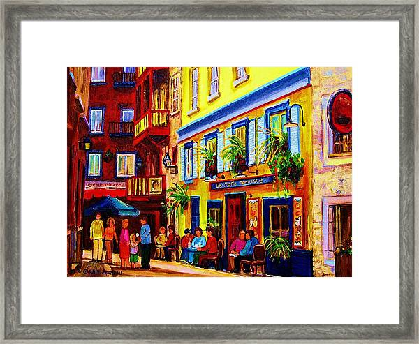 Courtyard Cafes Framed Print