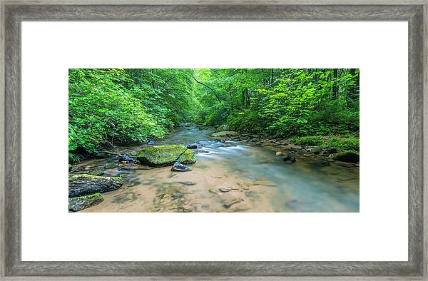 Framed Print featuring the photograph Cove Creek Panorama by Ranjay Mitra
