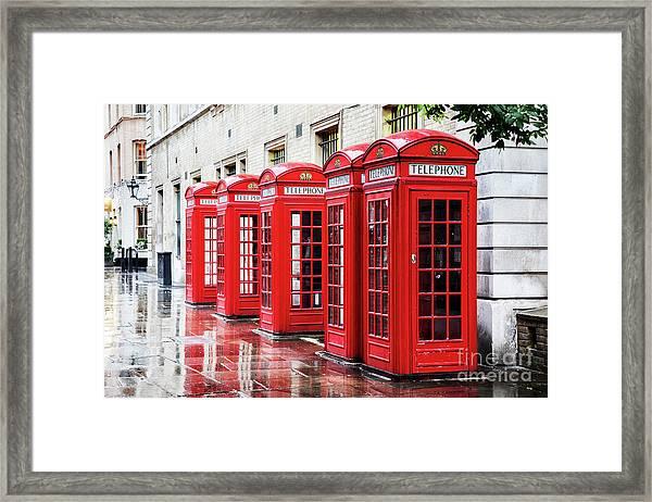 Covent Garden Phone Boxes Framed Print