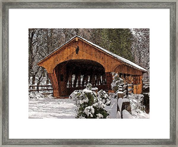 Covered Bridge At Olmsted Falls-winter-2 Framed Print