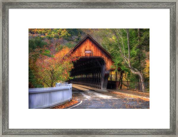 Covered Bridge In Autumn - Woodstock Vermont Framed Print