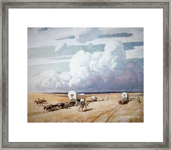 Covered Wagons Heading West Framed Print