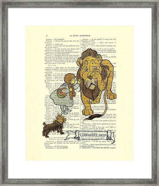 Cowardly Lion, The Wizard Of Oz Scene Framed Print
