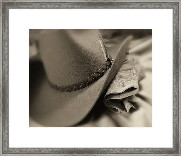 Cowboy Hat And Gloves Framed Print