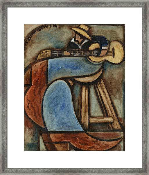 Cowboy Playing Guitar In  Albuquerque New Mexico Art Print Framed Print